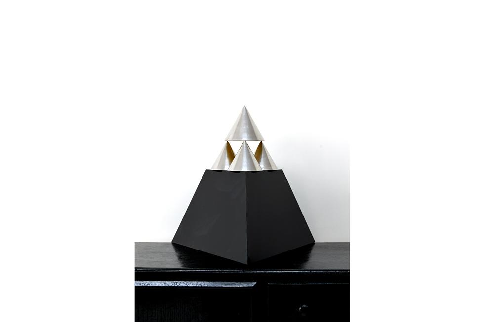 40. Pyramid 18 x 18 x 17.5 Aluminium and Perspex