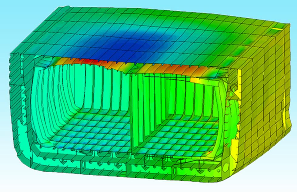 Simulating hull structure.