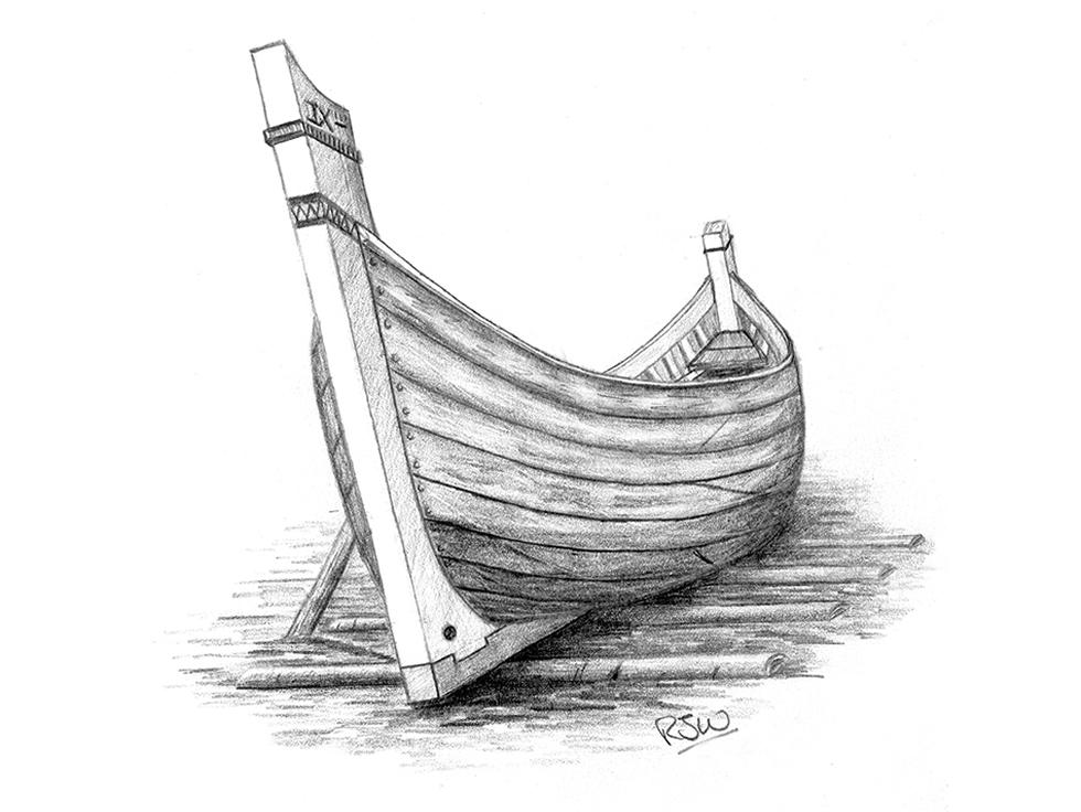 Artistic impression of a Roman harbour lighter