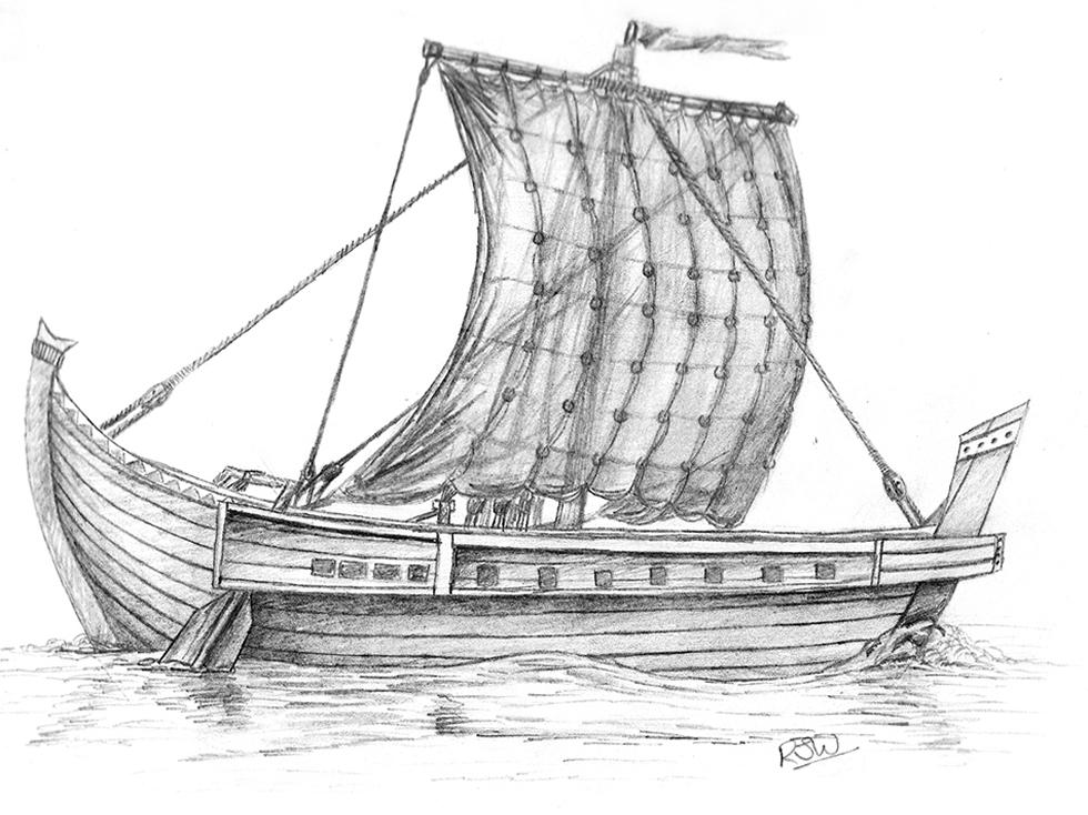 Artistic impression of a Roman merchant ship