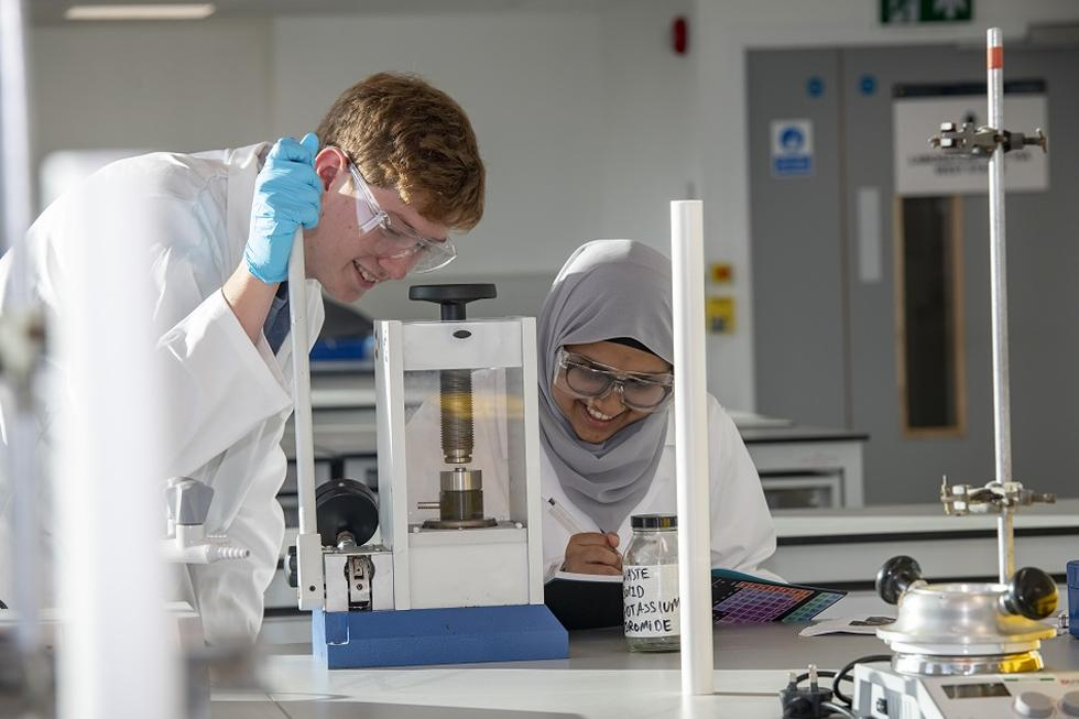 Students working in the new laboratories