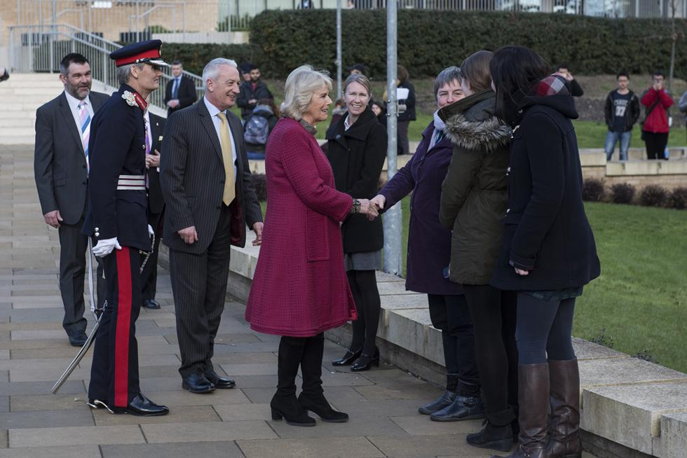 The Duchess of Cornwall talking with University of Southampton staff.