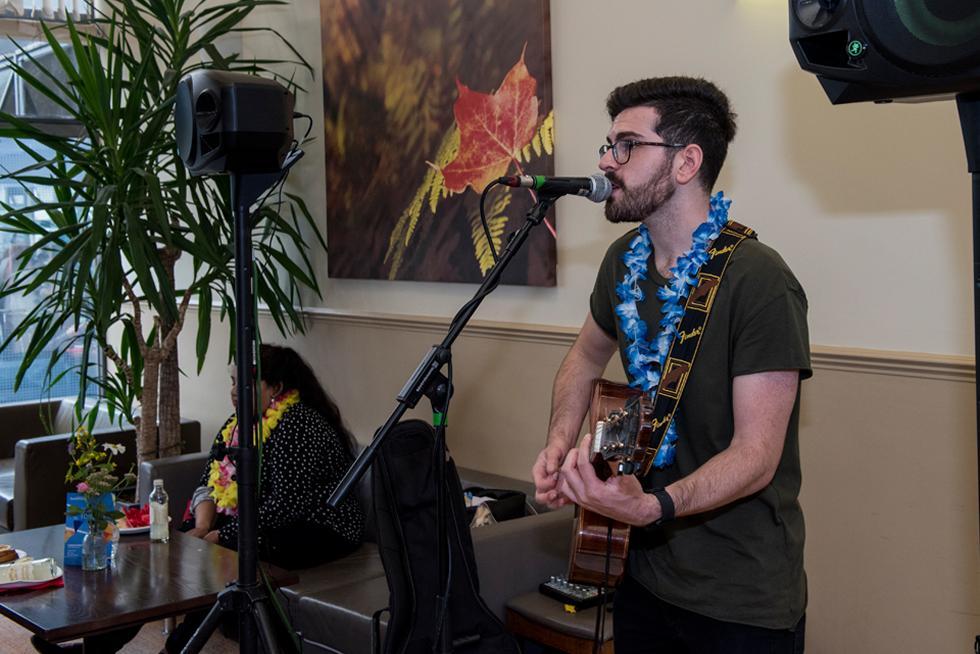 Josh Baum performing in the Arlott Bar