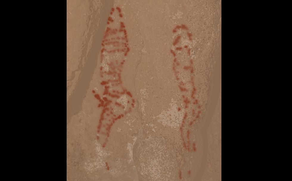 Digital tracing of possible anthropomorphic (human related) figures featured in rock art. Credit: Aitor Ruiz-Redondo