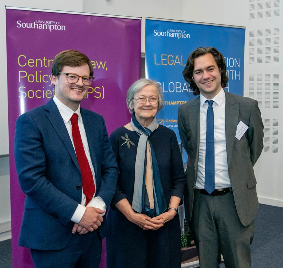 Lady Hale with CLPS directors Dr Alun Gibb and Dr Harry Annison