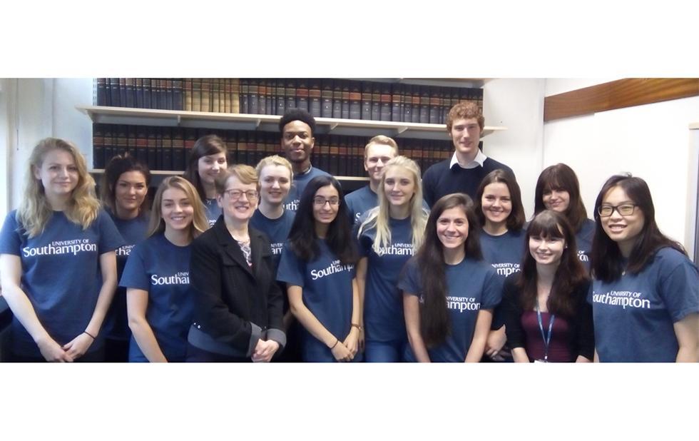 Law clinic volunteers with Head of School Brenda Hannigan