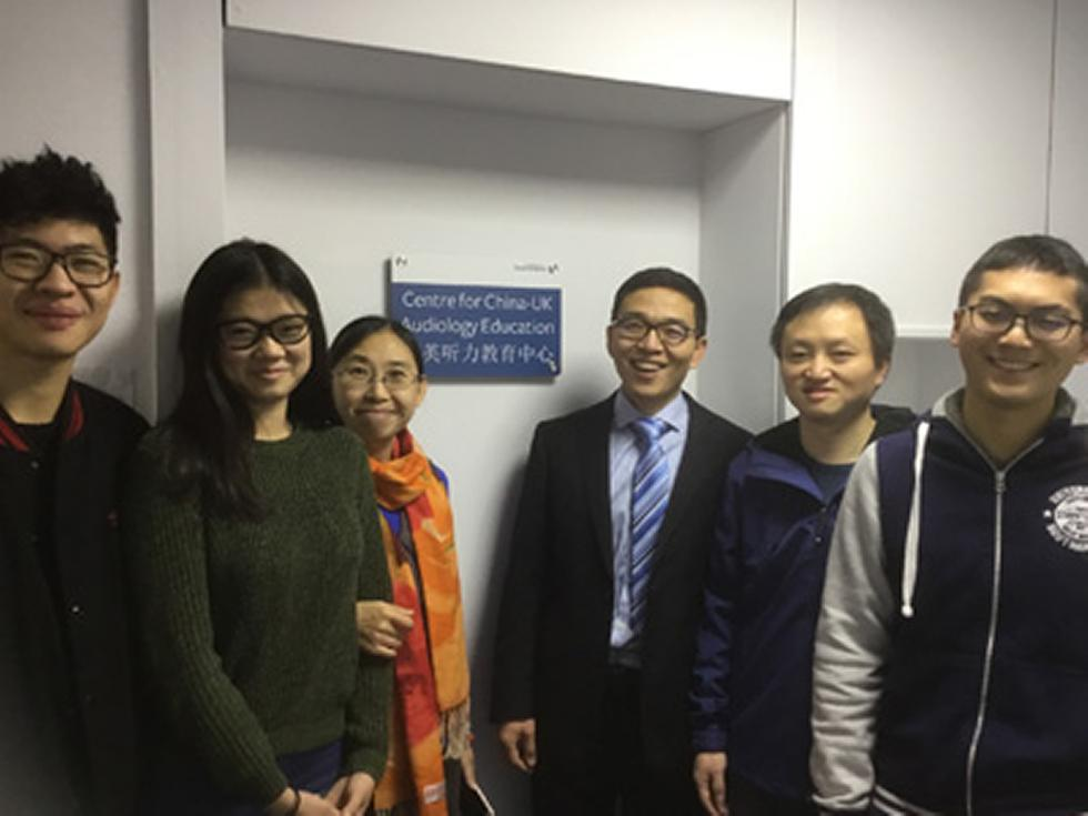 Co-founder of CUAE, Dr Guoping Li (TingLi), with visiting academics Drs Xia Li and Geming Wu and three of the five visiting students for 2016-17