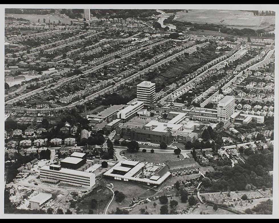 Development: Aerial view of Highfield campus, 1960s