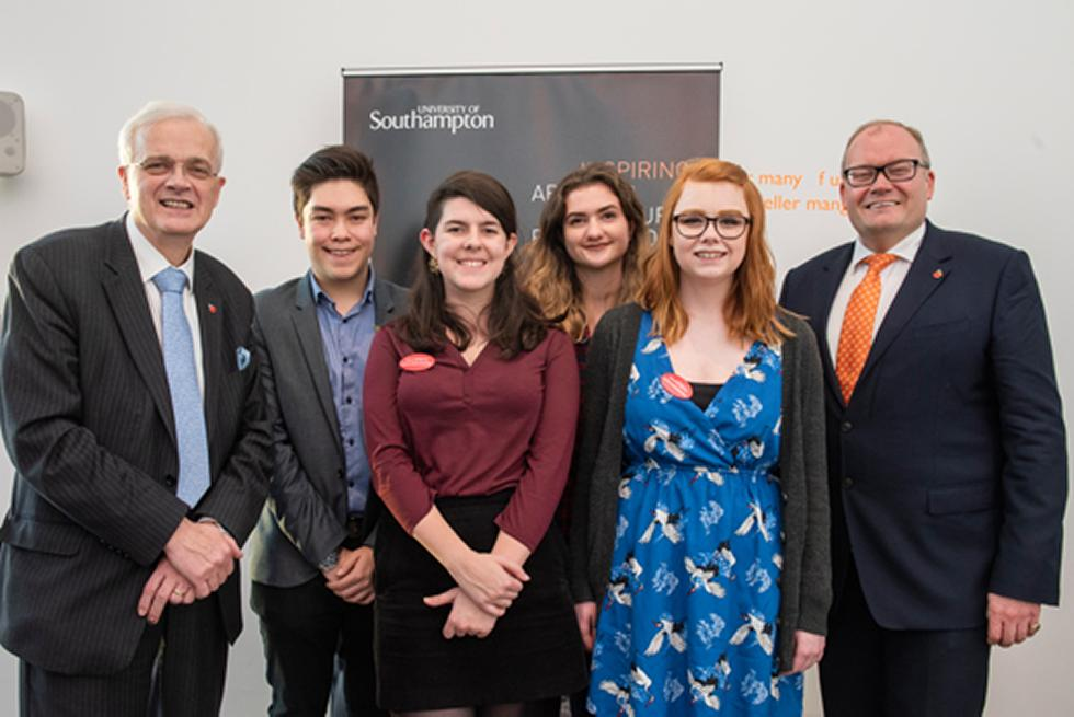 Arts Ambassadors Ben, Molly, Annette and Hannah with Darren Henley and Sir Christopher Snowden