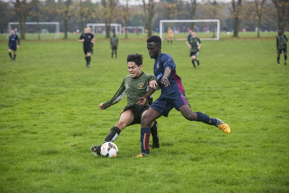 Students playing football