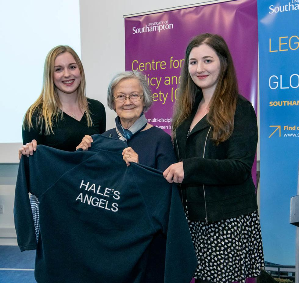Lady Hale is presented her own Hale's Angels jumper from our netball team