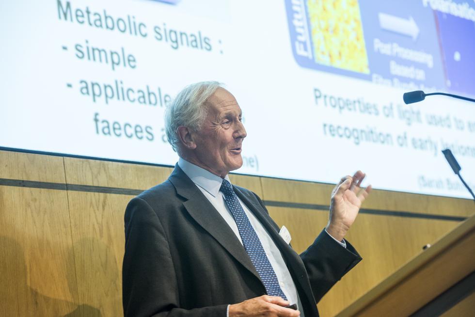 Professor Sir Bruce Ponder delivering his keynote