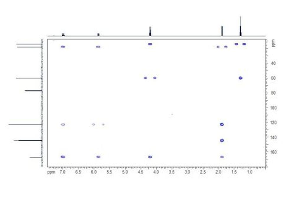HMBC. In the HMBC spectrum the two- and three- bond couplings between protons and carbons can be seen as cross-peaks.