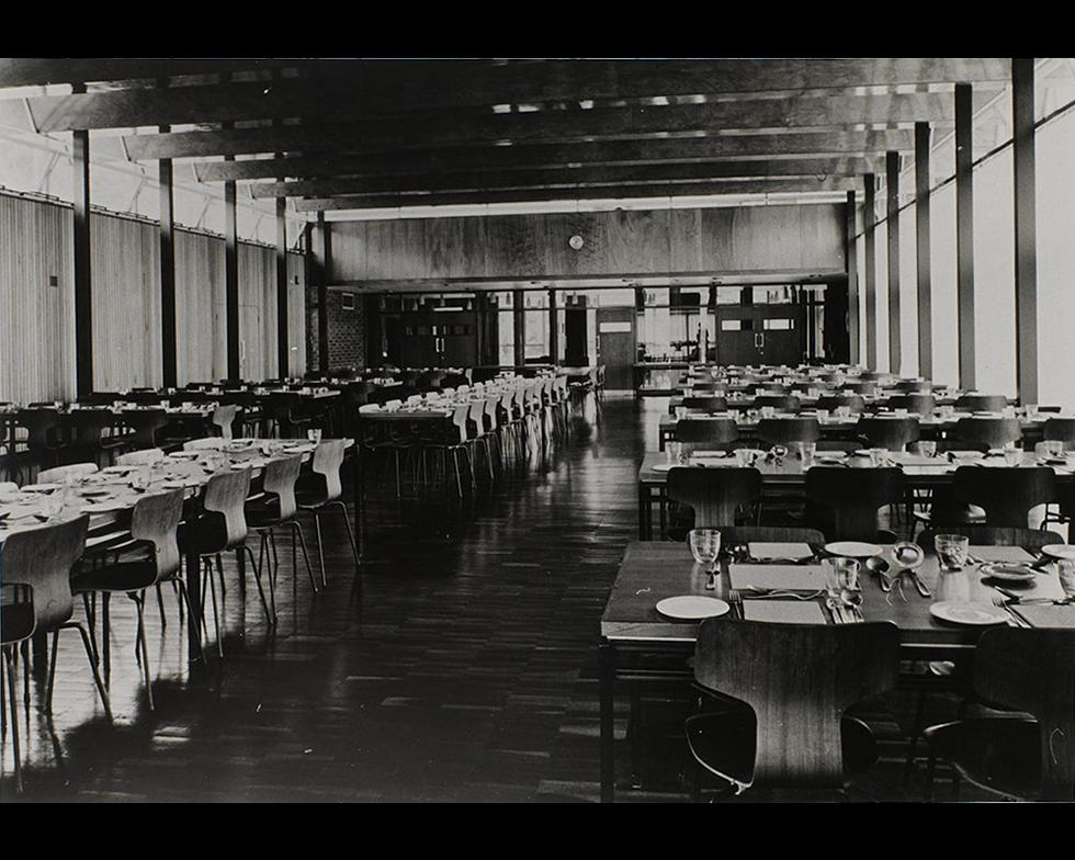 Student accommodation: Hall of residence dining room, 1960s