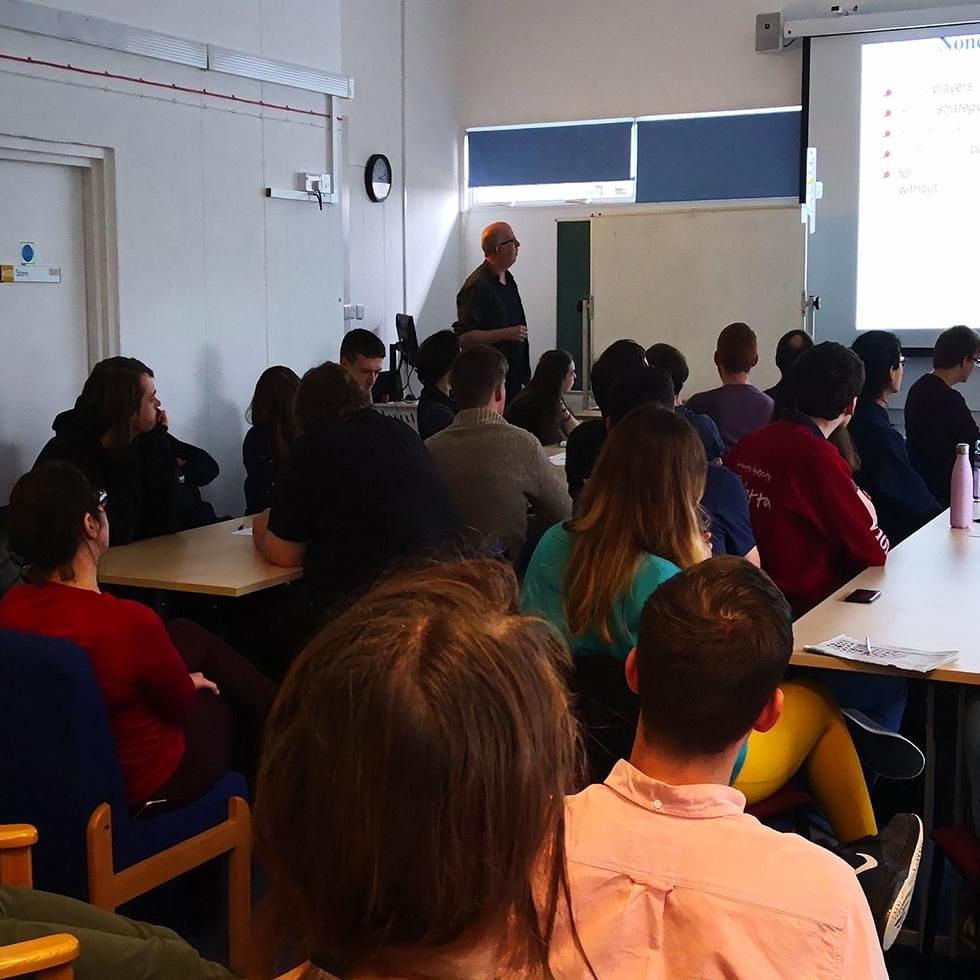 Professor Jörg Fliege giving his talk
