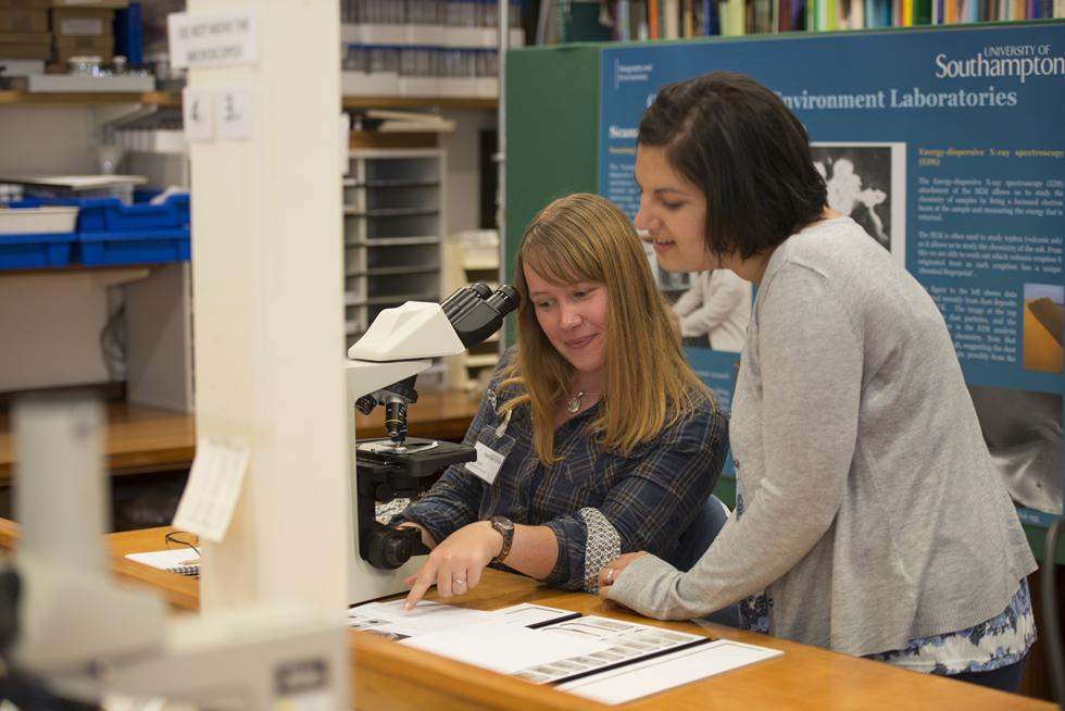 Demonstration with technician Hayley Essex and Gemma Gubbins, GeoData