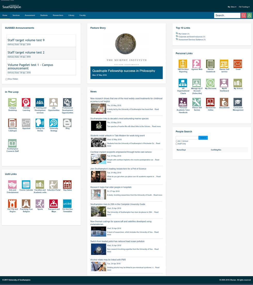 Staff homepage