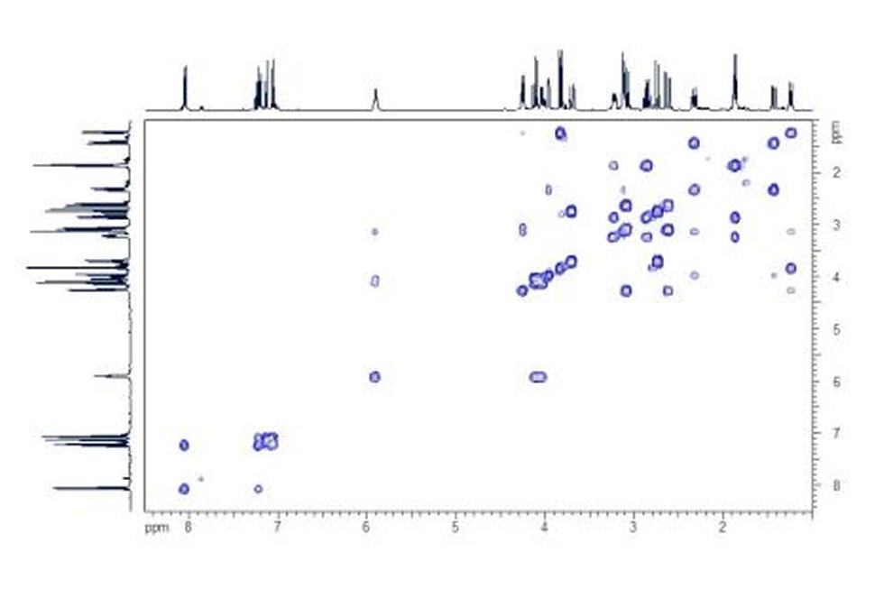 HH COSY. The HH COSY spectrum shows the proton coupling network within the molecule.