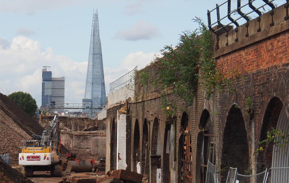 The Shard from the South Bermondsey fly-under works
