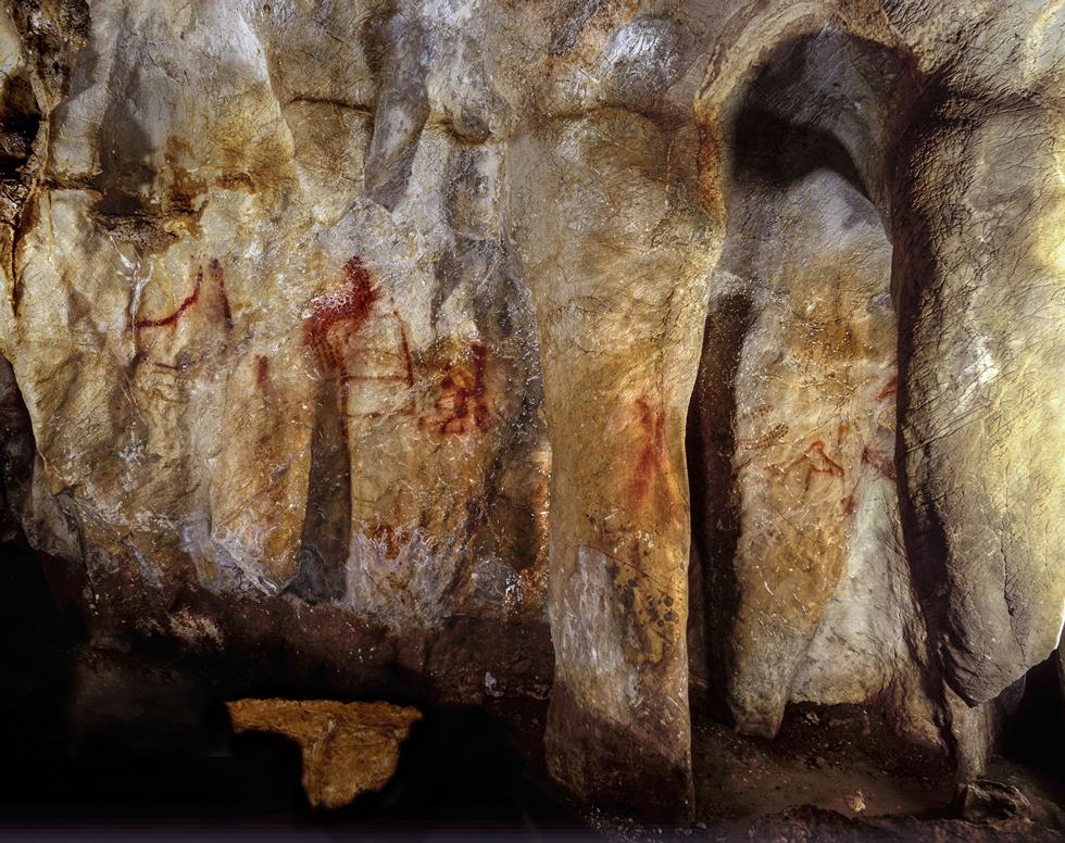 Cave wall with paintings at La Pasiega.