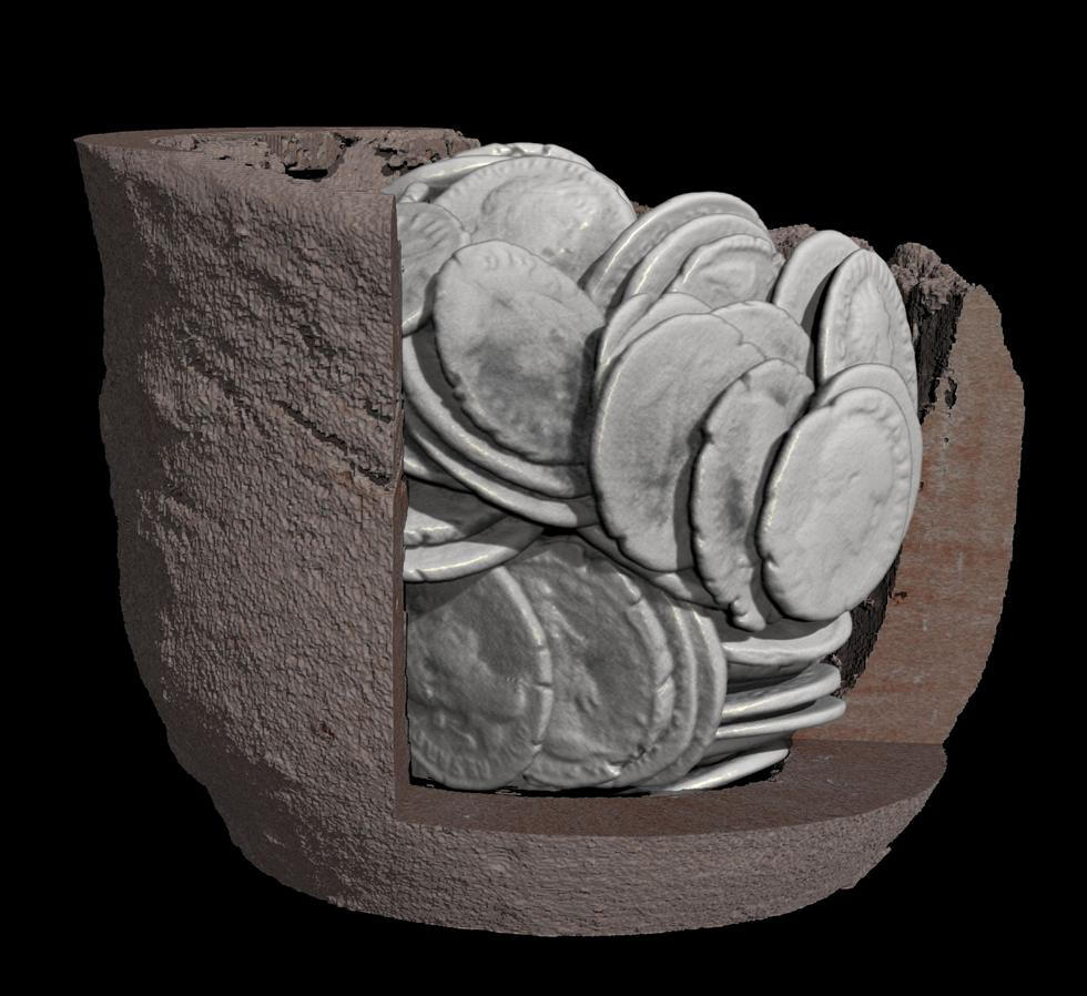 Figure 6 - Cutaway CT render showing the same pot