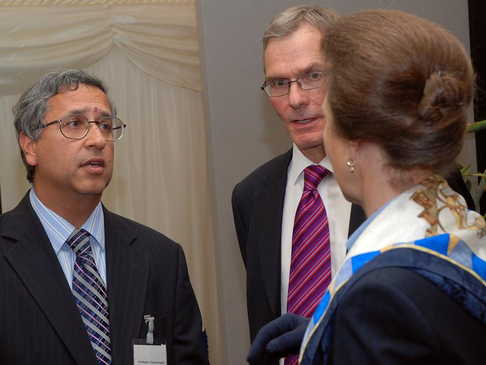Princess Anne with Professor Cyrus Cooper and Professor Mark Hanson