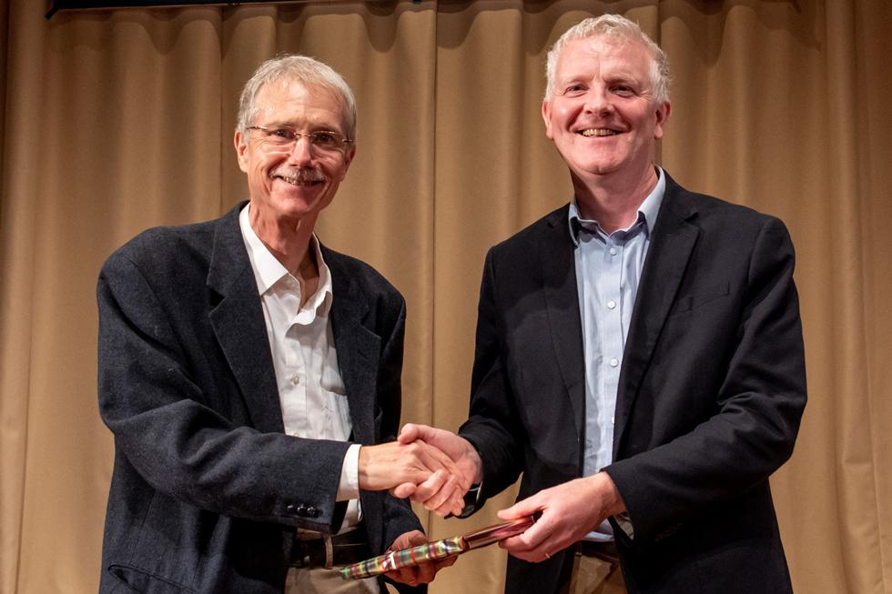 Steve King accepting the prize on behalf of Simon King