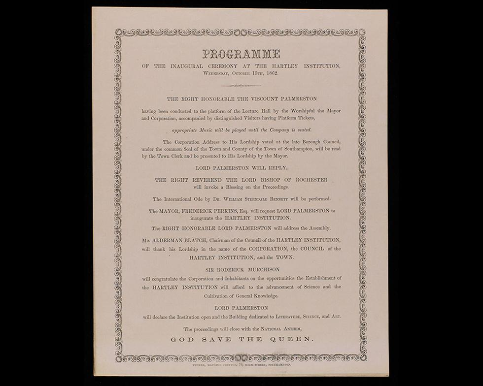 Foundation: Programme for the opening of the Hartley Institution, 1862