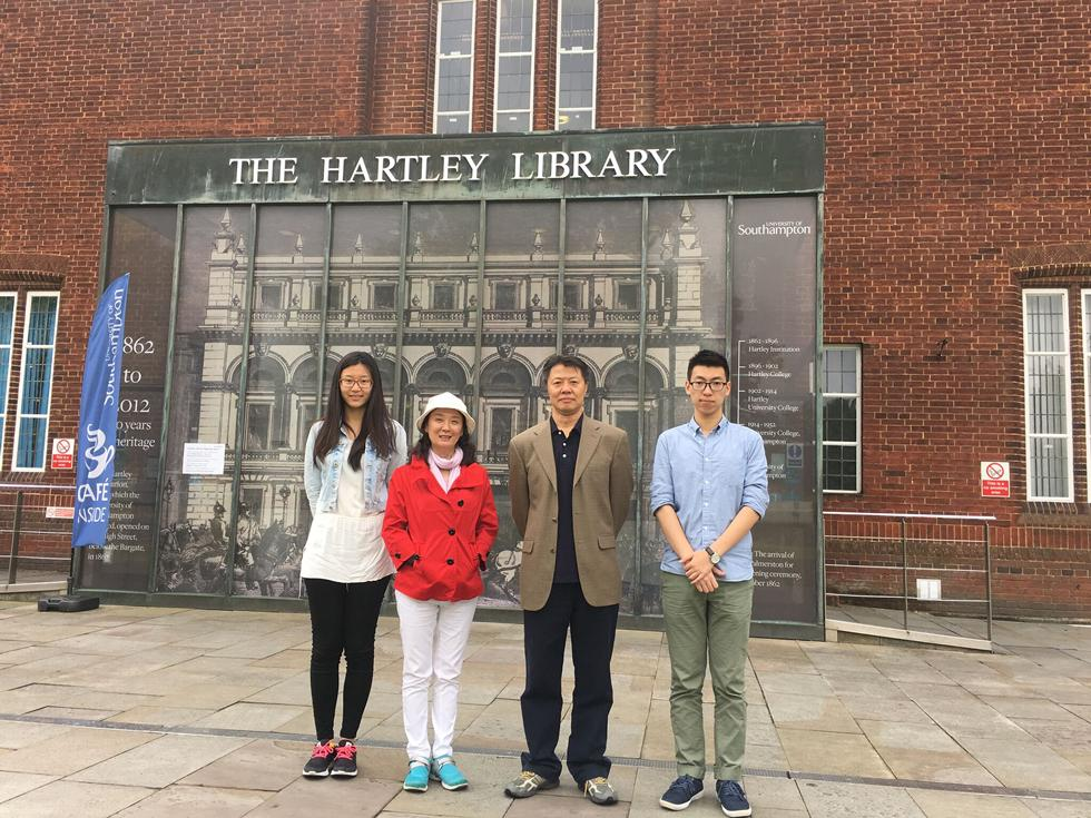 Professors Zhang and Kuan with the first two visiting students, Zihui Zhao and Tianbo Zhang, in Southampton