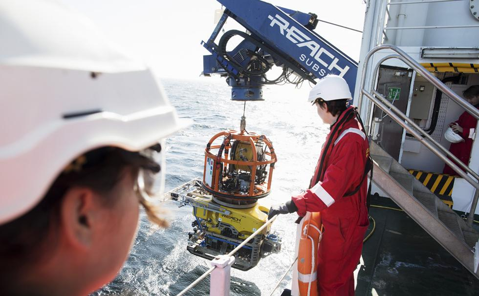 Launching the ROV from Stril Explorer.