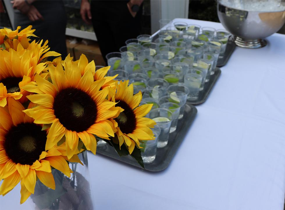 Beautiful sun flower decorations and shots on the table